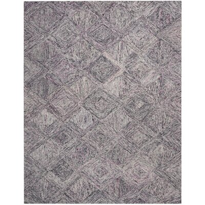 Divernon Hand-Woven Wool Charcoal/Purple Area Rug Rug Size: Rectangle 8 x 106