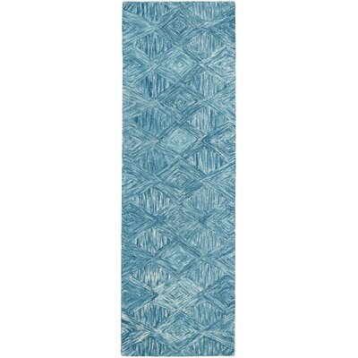 Divernon Hand-Woven Wool Marine Area Rug Rug Size: Runner 23 x 76