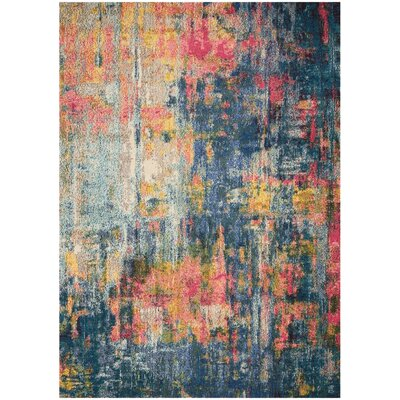 Velva Blue/Yellow Area Rug Rug Size: Rectangle 53 x 73