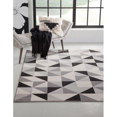 Barcroft Gray/Black Area Rug Rug Size: 53 x 76