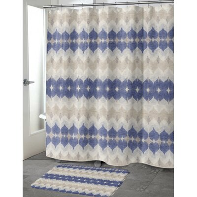 Dylan Cotton Blend Shower Curtain Size: 72 H x 70 W, Color: Blue/Grey