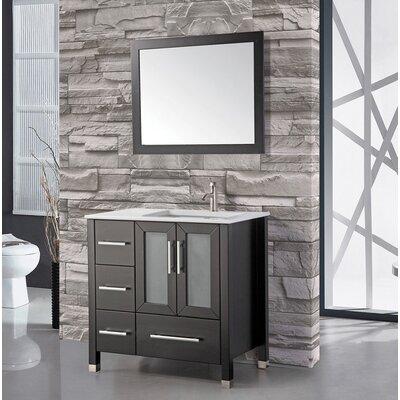 Nadeau 36 Single Sink Bathroom Vanity Set with Mirror Base Finish: Espresso