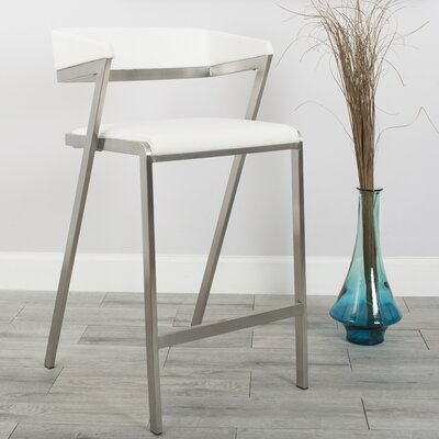 Deschamps Low Back 26.5 Bar Stool Upholstered: White