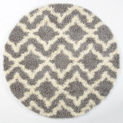 Gerson Shaggy Light Gray/Cream Area Rug Rug Size: Round 5 x 5