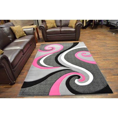 Mccampbell 3D Modern Contemporary Abstract Pink/Gray Area Rug