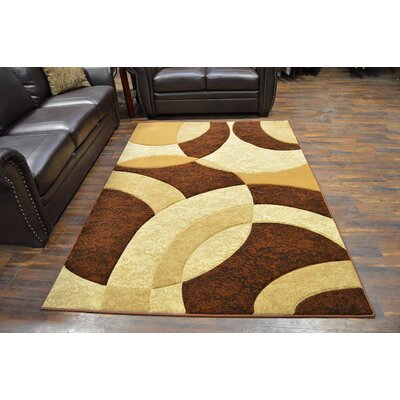 Mccampbell 3D Modern Contemporary Abstract Brown/Cream Area Rug