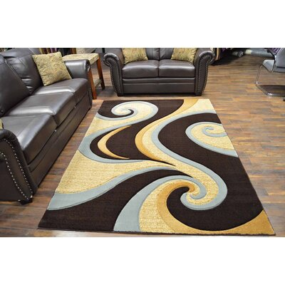 Mccampbell 3D Modern Contemporary Abstract Brown/Beige Area Rug