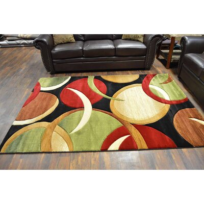 Mccampbell 3D Modern Contemporary Abstract Black/Green/Brown Area Rug