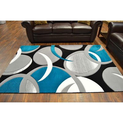 Mccampbell 3D Modern Contemporary Abstract Gray/Turquoise Area Rug