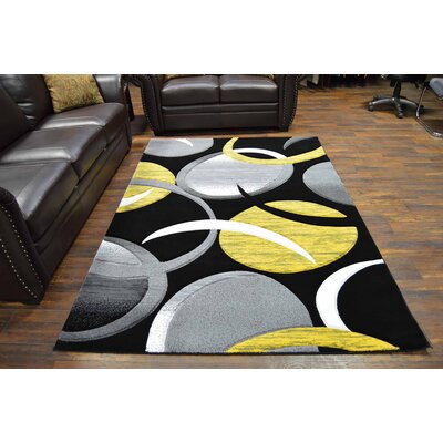 Mccampbell 3D Abstract Yellow/Black Area Rug Rug Size: Rectangle 2 x 4
