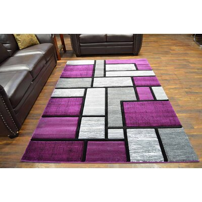 Mccampbell 3D Purple/Gray Area Rug Rug Size: Rectangle 5 x 7