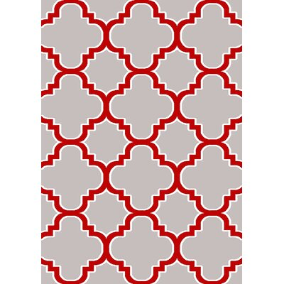 Mccampbell 3D Gray/Red Area Rug Rug Size: Rectangle 8 x 11
