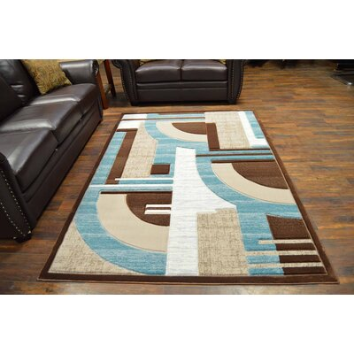Mccampbell 3D Abstract Blue/Cream Area Rug Rug Size: Rectangle 8' x 11'