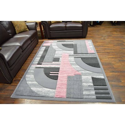 Mccampbell 3D Modern Contemporary Abstract Gray/Pink Area Rug