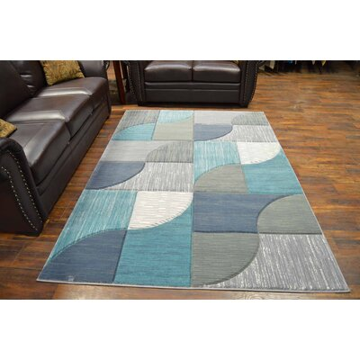 Mccampbell 3D Gray/Blue Area Rug Rug Size: Rectangle 8' x 11'