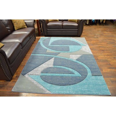 Mccampbell 3D Abstract Gray/Blue Area Rug Rug Size: Rectangle 8' x 11'
