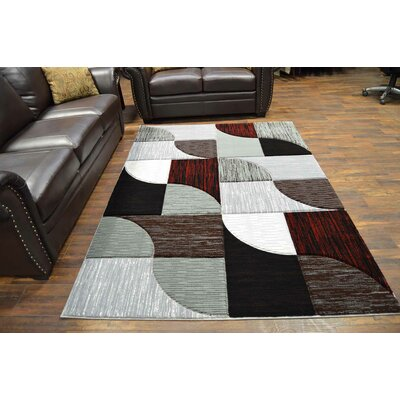 Mccampbell 3D Modern Contemporary Burgundy Area Rug