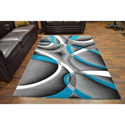 Mccampbell 3D Abstract Gray/Turquoise Area Rug