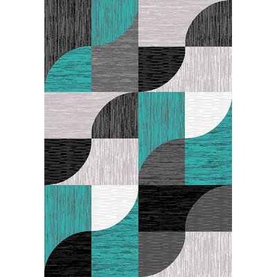 Mccampbell 3D Turquoise/Gray Area Rug Rug Size: Rectangle 5' x 7'