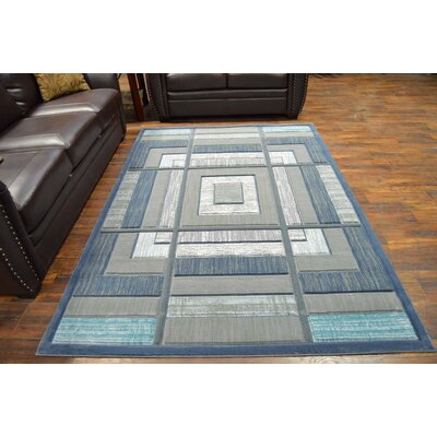 Mccampbell 3D Modern Contemporary Gray/Blue Area Rug