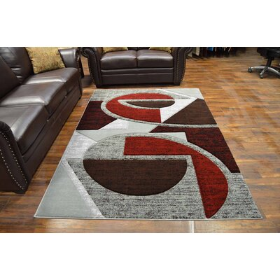 Mccampbell 3D Modern Contemporary Abstract Gray/Burgundy Area Rug