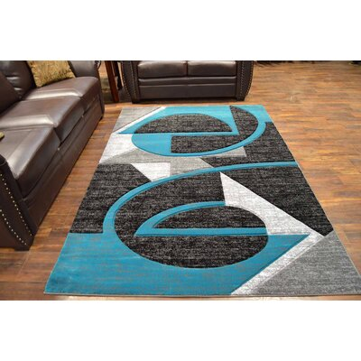 Mccampbell 3D Modern Contemporary Abstract Turquoise/Black Area Rug