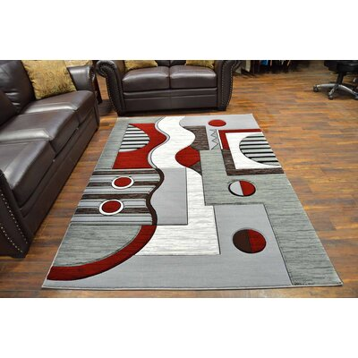 Mccampbell 3D Modern Contemporary Gray/Burgundy Area Rug