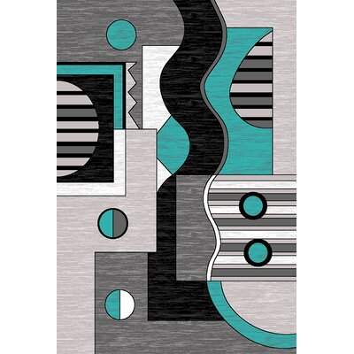 Mccampbell 3D Turquoise/Gray Area Rug Rug Size: Rectangle 5 x 7