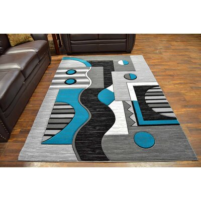 Mccampbell 3D Turquoise/Gray Area Rug Rug Size: Rectangle 8' x 11'