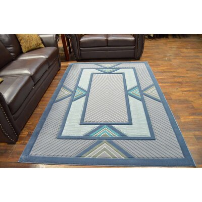 Mccampbell 3D Modern Contemporary Blue/Gray Area Rug