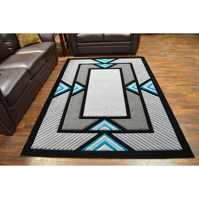 Mccampbell 3D Modern Contemporary Turquoise/Gray Area Rug