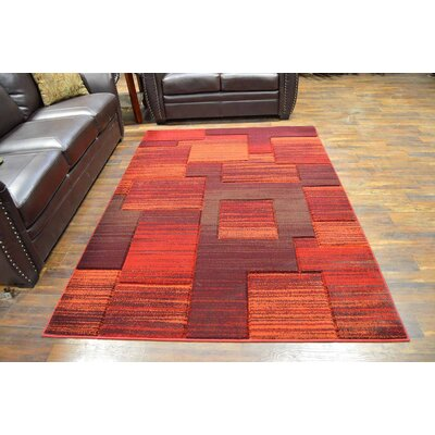 Mccampbell 3D Modern Contemporary Burgundy/Terracotta Area Rug