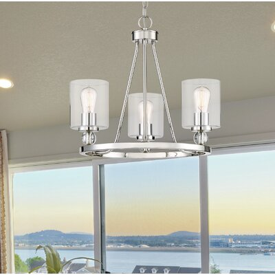 Friedman 3-Light Glass Shade Candle-Style Chandelier