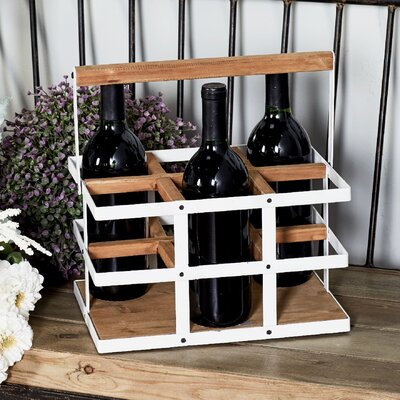 Campa Modern 6-bottle Tabletop Wine Bottle Rack Finish: White