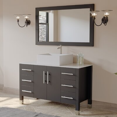 "Jessa '' Bathroom Vanity Set with Mirror 47"" Single Bathroom Vanity Set with Mirror"