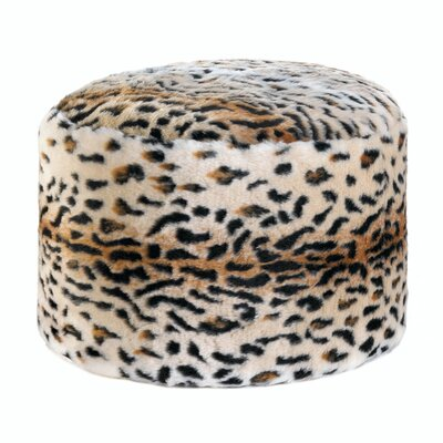 Hogan Snow Leopard Fuzzy Pouf Ottoman
