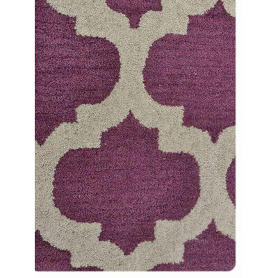 Mott Hand-Tufted Wool Purple/White Area Rug Rug Size: 4 x 6