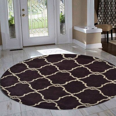 Malden Hand-Tufted Wool Brown Area Rug Rug Size: Round 8'