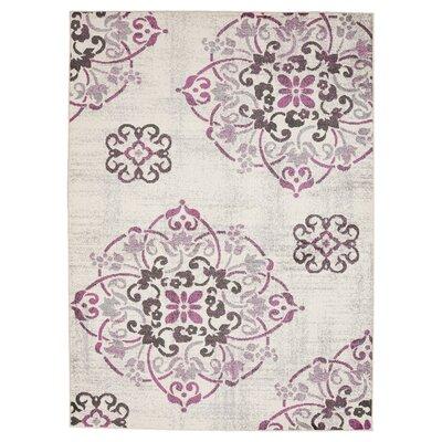 Clarice Medallion Ivory/Purple Area Rug Rug Size: 710 x 910