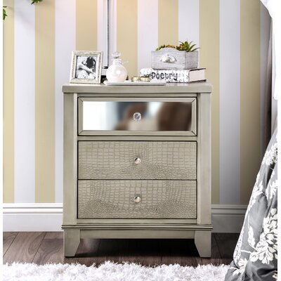 Ariadne Contemporary 2 Drawer Nightstand Finish: Silver
