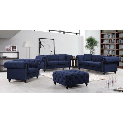 Garrett Chesterfield Sofa Upholstery: Navy