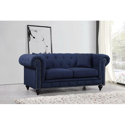Garrett Chesterfield Loveseat Upholstery: Navy