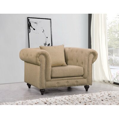 Garrett Chesterfield Chair Upholstery Color: Sand