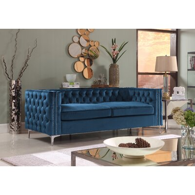 Marlon Chesterfield Sofa Upholstery: Navy