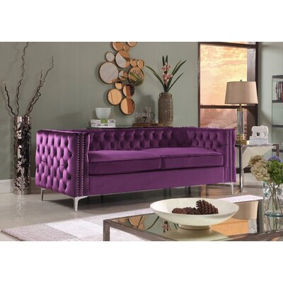 Marlon Chesterfield Sofa Upholstery: Purple