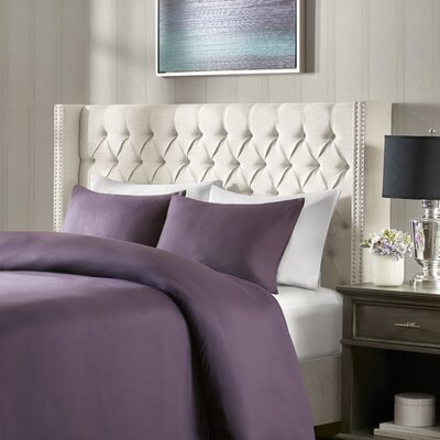 Candice Upholstered Wingback Headboard Size: King, Upholstery: Cream
