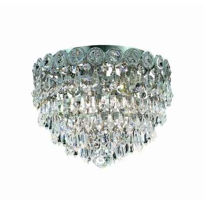 Lorna 3-Light Flush Mount Finish: Chrome, Crystal Grade: Royal Cut