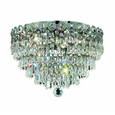 Lorna 6-Light Flush Mount Finish: Chrome, Crystal Grade: Elegant Cut