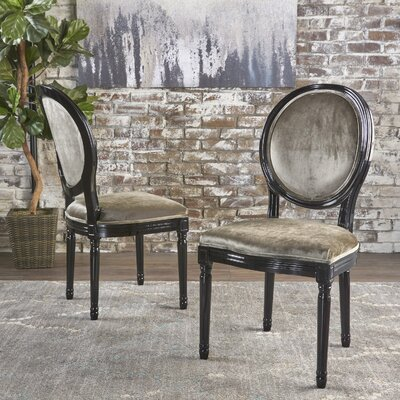 Jamar Velvet Upholstered Dining Chair Color: Grey/Black
