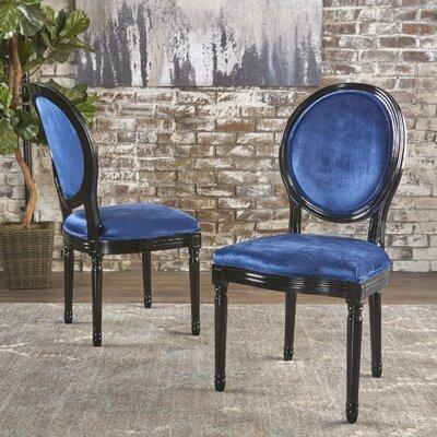 Jamar Velvet Upholstered Dining Chair Color: Navy Blue/Black